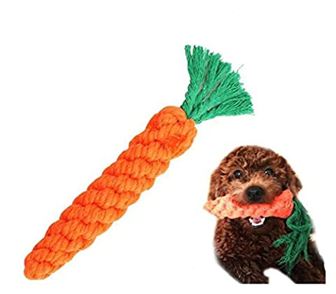 Stillshine Dog Toys Pet Cotton Chew Rope Toy Dental Teeth Cleanning (Carrot ) (Orange)
