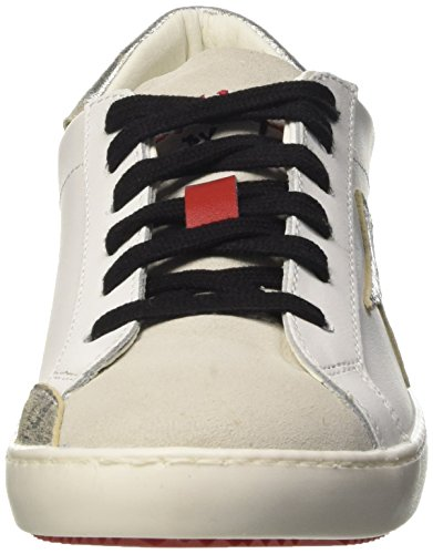 Fake By Chiodo 003, Scarpe Low-Top Unisex Adulto Argento (Vitello Bianco-Velour White/Foil Scrub Argento)
