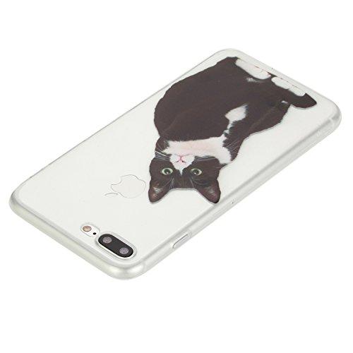 Custodia per Apple iPhone 7 Plus 5.5 morbido Gomma,Herzzer Crystal Creativo Elegante Carino Quadro Design Snap-on Colorato Copertura caso,Protettivo Skin Liscio Ultra Slim Sottile Cristallo trasparen Nero Gatto