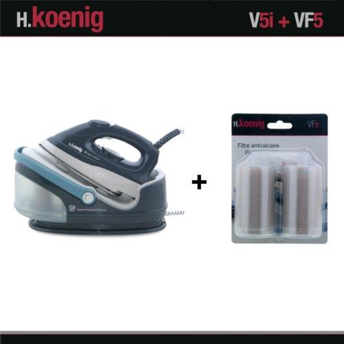 H.Koenig V5i Centrale Vapeur 2400W et VF5 Filtres anti calcaire pour centrale vapeu V5i