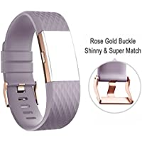 DD For Fitbit Charge 2 Straps, Replacement Accessories Watch Band Adjustable Silicone Wrist Straps for Fitbit Charge 2 with ROSE GOLD BUCKLE