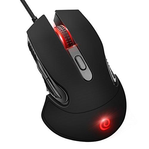 ELZO Gaming Maus, Gamer Maus Hohe Präzision für Pro Gamer mit 6 programmierbaren Tasten/LED/ergonomisches Design/USB-Wired Maus optisch (Schwarz) (Maus Apple Computer Wired)