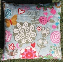 Crewel Pillow Bushes and Butterfly Pinks on Blue Cotton Duck (20X20)