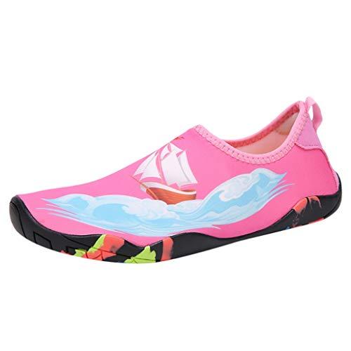 Fenverk Badeschuhe Herren Schwimmschuhe rutschfeste Wasserschuhe Damen Strandschuhe Aquaschuhe Surfschuhe Barfuß Wassersport Schuhe 35-46(Pink-b,39 EU)