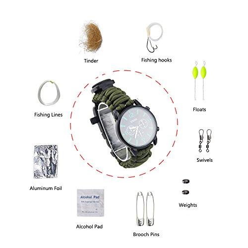 Draussen Sport Überleben Armband, 7 Kern Paracord Bergsteigen Nachtleuchtende Uhr Outdoor Notfall Wristband Erste Hilfe Tools mit Kompass, Rettungspfeife, Wärmemesser, Feuer Starter, Angelset Zubehör