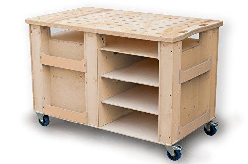 Hochbelastbar Werkstattwagen 1300x750 mm, Werkbank auf Rollen Werkzeugwagen Rollwagen ohne Schubladen