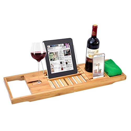 Global Brands Online Luxus Einstellbare Badewanne Rack Bambus Caddy Regal Duschwanne Fach OverBook Handtuch Wein Halter Unterstützung