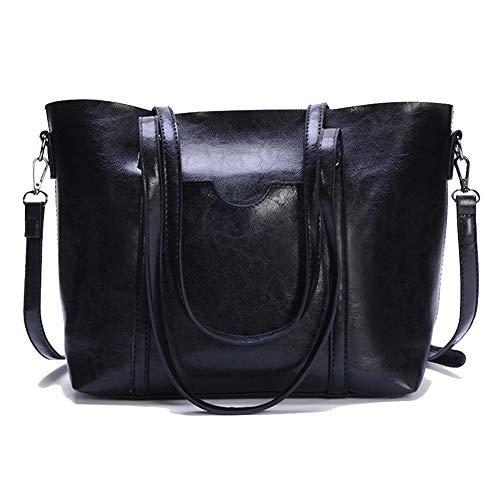 57b67ca13 LETEULO Handbags for women tote shoulder bags ladies top handle satchel  purse Black