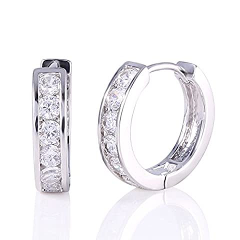 GULICX Round Hoop Huggie Earrings Clear Zircon White Gold Plated Lady Jewellery for Womens Girls - Diameter
