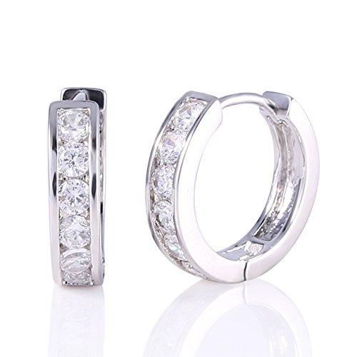 GULICX Fashion Jewellery stile retrò con zirconi trasparenti Vogue, placcata in oro bianco 18 k a cerchio Huggie Orecchini per bambina