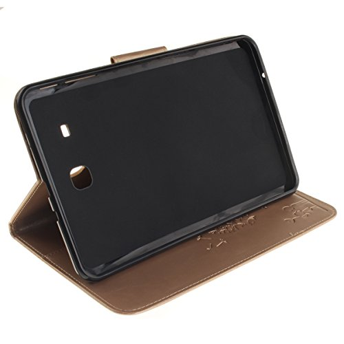 Coque Samsung Galaxy Tab E 9.6 T560 à Rabat avec Support,Samsung Galaxy Tab E 9.6 Étui Housse,Ekakashop Jolie Motif Couple de Pissenlit Rouge PU Cuir Protecteur Shell Tablette Couverture Filp Case Sta D'or