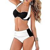 iBaste Sexy Bikini Damen Neckholder Bikini High Waist Bademode Push-Up Bikini-Set Badeanzug Swimsuit (XL, Weiß)
