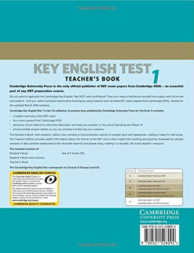 Cambridge Key English Test 2nd 1 Teacher's Book: Examination Papers from the University of Cambridge ESOL Examinations (KET Practice Tests)