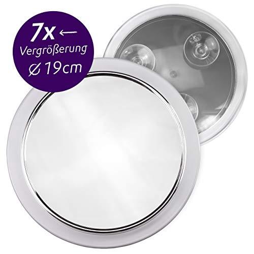 Fantasia Kosmetikspiegel mit 7-fach Vergrößerung, Premium Schminkspiegel Ø 19cm rund mit Saugnapf, Acryl Make-Up-Spiegel für zuhause und unterwegs, innen Ø 15,5 cm (Vergrößerungsspiegel Wandhalterung)