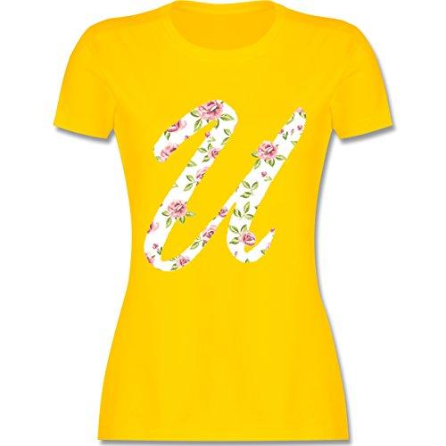 Anfangsbuchstaben - U Rosen - tailliertes Premium T-Shirt mit Rundhalsausschnitt für Damen Gelb