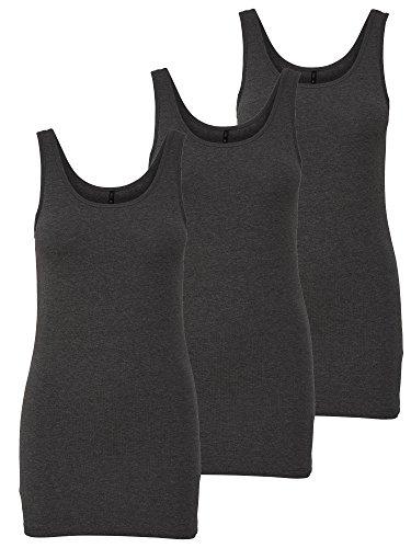 ONLY 3er Pack Damen Basic Tops Tank Top dunkel grau lang Gratis Wäschenetz B46 (XL, Grau (Dark Grey Melange))