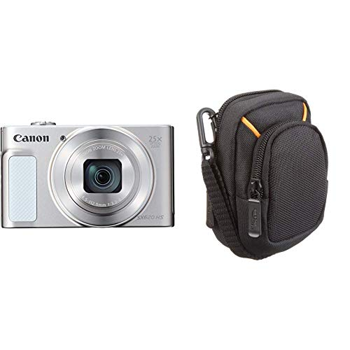 Canon PowerShot SX620 HS Digitalkamera (20,2 MP, 25-Fach optischer Zoom, 50-Fach ZoomPlus, 7,5cm Display, Opt Bildstabilisator, WLAN, NFC) Silber & Kameratasche für Kompaktkameras, mittlere Größe