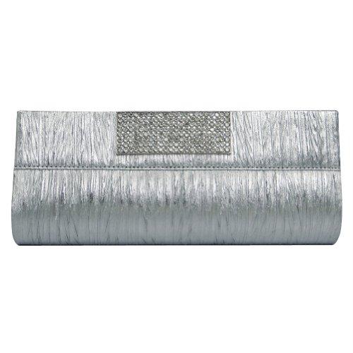 3be30895e2ae2 Silber Mittel Kupplung Frauen Braut Totes Handtasche Abend Prom Partei  Indische Geldbeutel Silber-