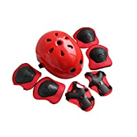 joizo 7 Pcs/set Children Sports Protective Equipment Thicken Safety Pad Knee Elbow Wrist Support Cushions Skate Protector Helmet For Children 3 To 12 Years Old Red