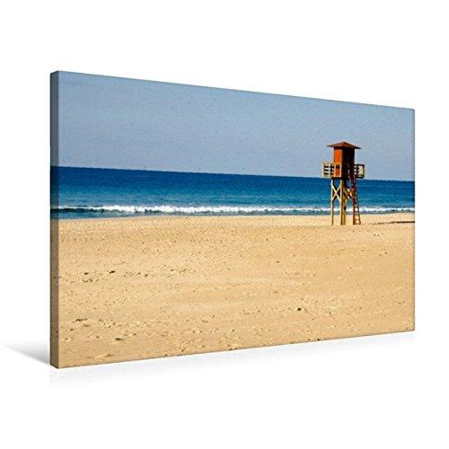 Premium Textil-Leinwand 75 cm x 50 cm quer, Atlantikstrand bei Cadiz | Wandbild, Bild auf Keilrahmen, Fertigbild auf echter Leinwand, Leinwanddruck: Weite Sandstraende am Atlantik (CALVENDO Orte)