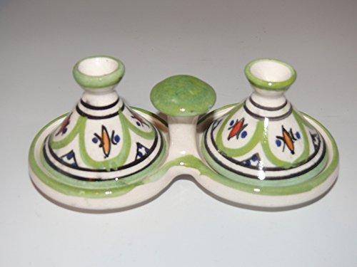 Kleine marokkanische Tajine für Gewürze Salz Pfeffer Tischdekoration Küche 32 (Töne Zitrone Pfeffer)