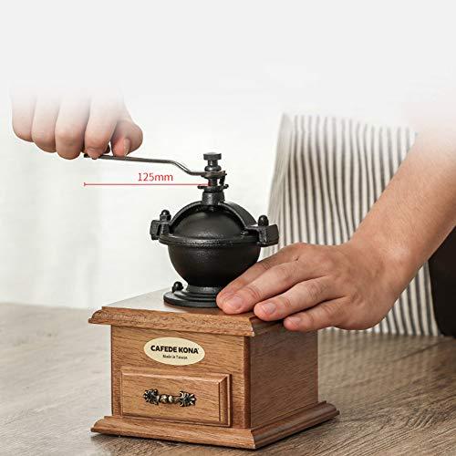 YJF Hölzerne manuelle Kaffeemühle-Handkurbel-Kaffeemühle mit Schleifeneinstellungen und Fangfach