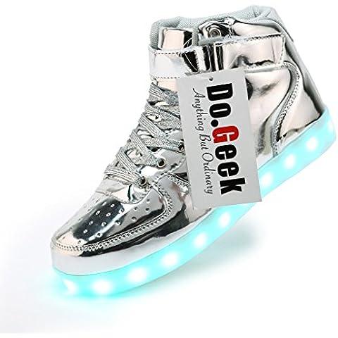 DoGeek Zapatos Led Negras Hombre 7 Color USB Carga LED Zapatillas Luces Luminosos Zapatillas Led Deportivos Para Hombres Mujeres (Elegir 1 tamaño más