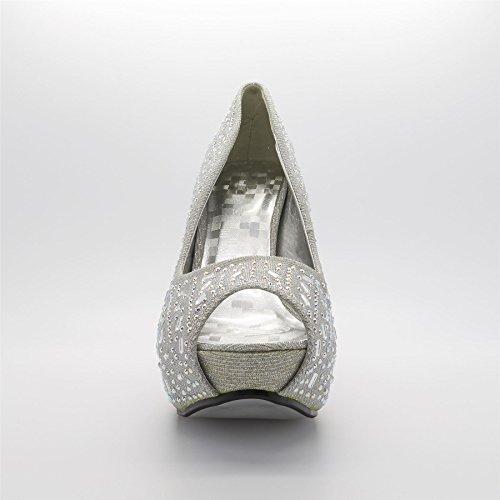 London Footwear ,  Damen Peep Toes Silber