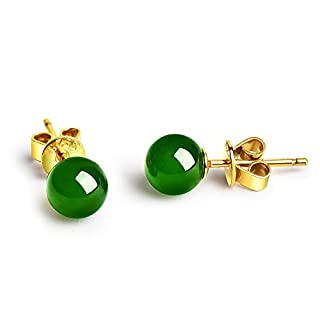 Dalwa Stud Earrings for Women 925 Sterling Silver Earrings with Gemstones Dark Green Jade in Gift Box
