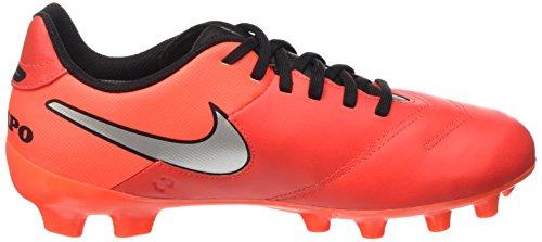 Nike Jr Tiempo Legend Vi Fg Scarpe da calcio allenamento, Unisex bambini Multicolore (Naranja / Plateado / Rojo (Lt Crmsn / Mtllc Slvr-Ttl Crmsn))