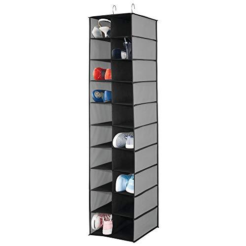 mDesign Hängeaufbewahrung mit 20 Fächern - großer Hänge Organizer für die Kleiderstange - platzsparende Aufbewahrung für Schuhe und Kleidung - grau/schwarz