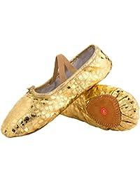 71a3976e5e61 L-RUN Girl s Ballet Shoes Women s Dance Shoes Flat Dancing Slipper Canvas  Vamp Leather Sole