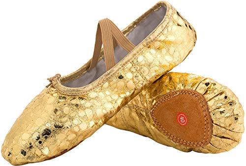 L-RUN Mädchen Damen Kinder Canvas Dance Schuh Satin Ballett Pointe Schuhe Gold_Dot, 11 UK Kleines ()