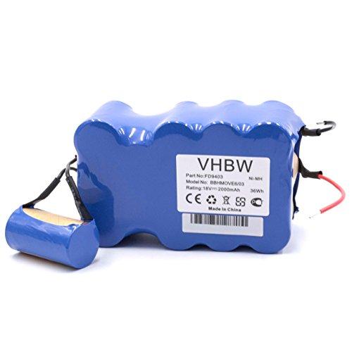 vhbw NiMH Batería 2000mAh (18V) para aspiradora Robot autónomo de Limpieza Bosch BBHMove4, BBHMove6, BBHMove6/03