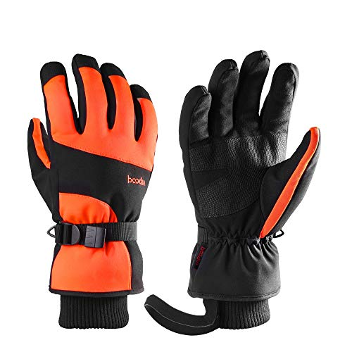 HCFKJ Ski Fäustlinge, Herren Winter Outdoor Dicke Sport Warme Winddichte Skihandschuhe Snowboard Handschuhe (Free, Orange)