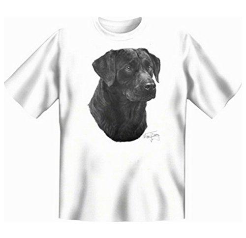 Schwarzer Labrador T-Shirt Hunde Motiv Fb weiß Weiß