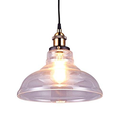 Saint Mossi Lustre Edison Vintage style 1-lumière pendentif en verre ombre suspension plafonnier lumière 1 E27 bulbe obligatoire Te plafond Luminaire bureau salle à manger chambre à coucher Salon