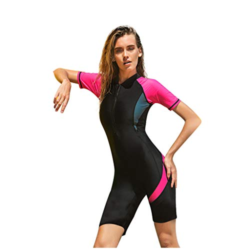 AIni Damen Neoprenanzug,Sexy Sport New Neopren Zip Shorty Neoprenanzug Tauchanzug Rash Guard Wetsuit Schwimmen Surfanzug Surfen Tauchen (M,Rot)