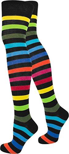 normani 1-10 Paar Damen Karneval Kostüm Fasching Baumwoll-Overknees Blickdicht Halterlose Strümpfe mit Streifen Farbe Regenbogen Größe 5 (Paar Socken Kostüm)