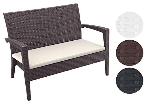 CLP 2er Rattan Garten Lounge-Sofa MIAMI V2, Vollkunststoff in Rattan-Optik, ca. 130 x 80 cm, mit Sitzkissen, stapelbare Sitzbank Braun