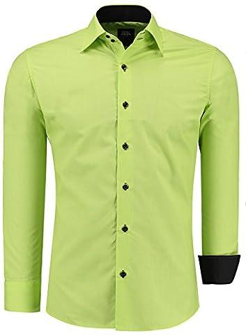 Jeel Langarm Herren Hemd Basic Business Anzug Freizeit Slim Fit Gr S M L XL NEU Grün 5XL