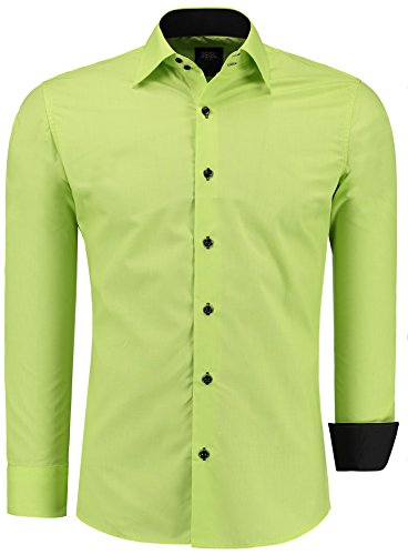 Jeel uomo camicia casual maniche lunghe contrasto slim fit tg s m l xl xxl, verde l