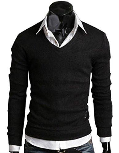 LemonGirl Bequeme Mens Slim Fit Langarm Leichte V-Ausschnitt Pullover Pullover (Shirt Stricken Mens Golf)