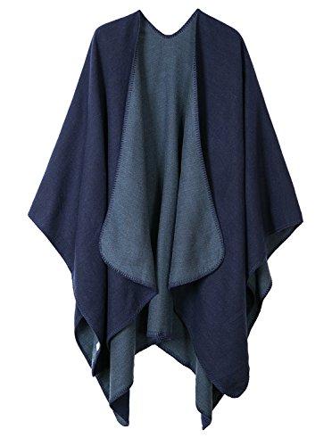 Urban GoCo Donne Eleganti Lavorato a Maglia Poncho Mantelle Scialle Cardigan Inverno Cappotto Taglia Unica Solido Blu Marino