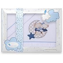 Sabanas de Invierno CORALINA Extrasuave MAXICUNA 70X140 - (bajera+encimera+funda almohada) - Color: Blanco/Azul - OFERTA