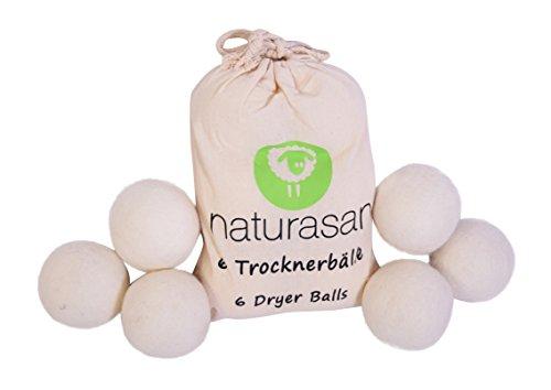 Naturasan Trocknerbälle für Wäschetrockner. 6 XXL extragroße Filzbälle, der natürliche Weichspüler ohne Chemie. Ideal für Daunenjacken. Trockner Bälle, super große Trocknerkugeln für Wäschetrockner