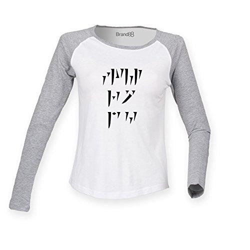 Brand88 - Draconic Shout, Damen Langarm Baseball T-Shirt Weiss & Grau