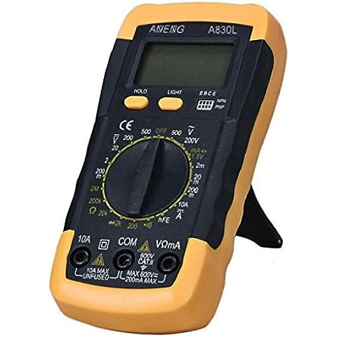 Vovotrade LCD digital multimetro amperimetro voltimetro ohmímetro Current Tester (negro)