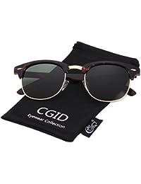 CGID MJ56 Premium Clubmaster Inspired Half Frame Polarized Sunglasses with Metal Rivets
