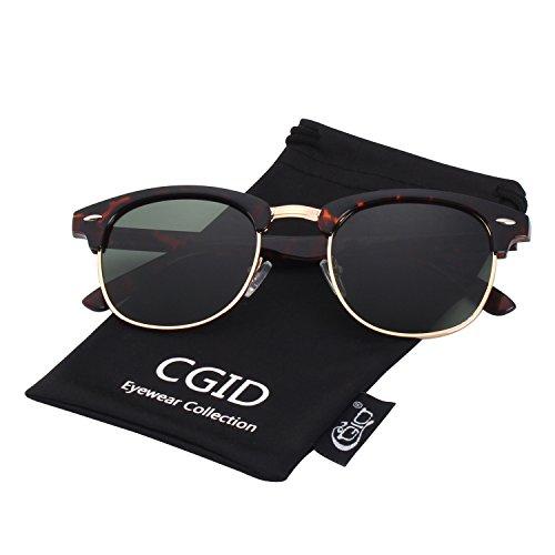 CGID MJ56 clubma Retro Vintage Sonnenbrille im angesagte 60er Browline-Style mit markantem Halbrahmen Sonnenbrille,Mehrfarbig-Grün